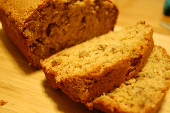 Banana nut bread, sliced.